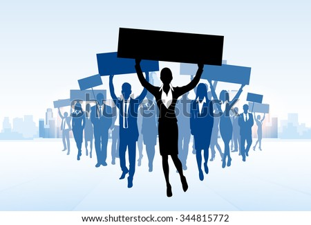 Protest Business People Crowd Silhouette, Woman Holding Flag Banner Walk Forward Vector Illustration - stock vector