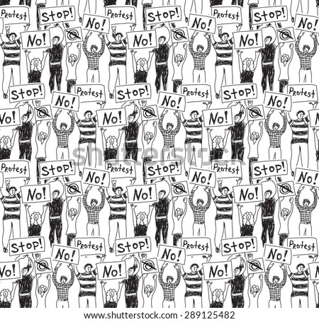 Protest demonstration group people seamless pattern black and white Crowd of protest people. Monochrome vector seamless pattern. - stock vector