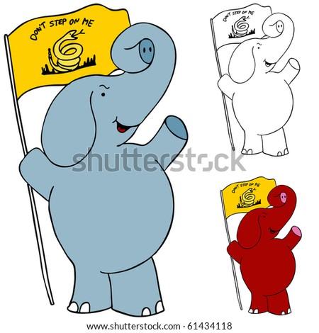 Protest Flag Elephant - stock vector