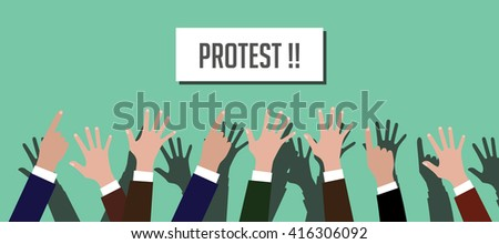 protest illustration people crowd with hands raised up with placard vector - stock vector