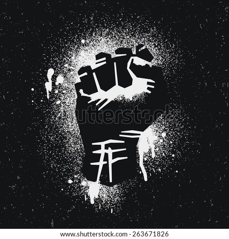 Protest logo. Black style. Hand popular protest. - stock vector