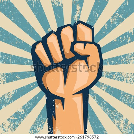 Protest logo. Retro style. Hand popular protest. - stock vector