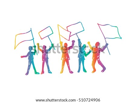 Protest People Silhouette, Men Holding Flag Banner Vector Illustration