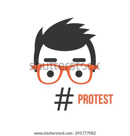 Protest, social network flashmob activity flat illustration concept. Creative concept for web banners, web sites, printed materials. Vector illustration - stock vector