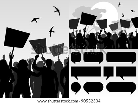 Protesters crowd and speech bubbles colorful landscape background illustration - stock vector
