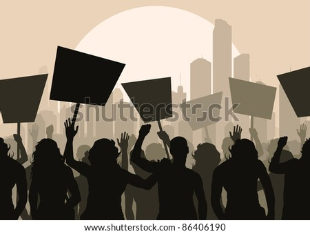 Protesters crowd in skyscraper city landscape background illustration - stock vector