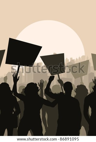 Protesters crowd in skyscraper city landscape background illustration