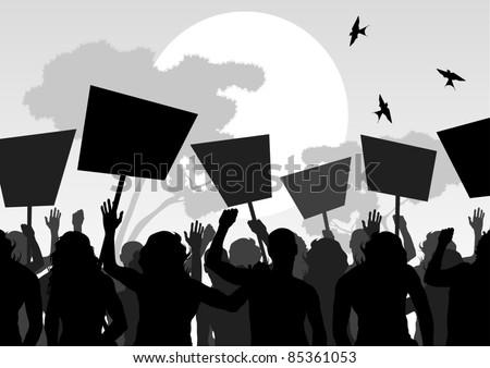 Protesters crowd landscape background illustration - stock vector