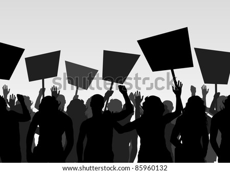 Protesters crowd landscape background illustration