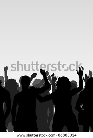 Protesters crowd landscape background illustration - stock vector