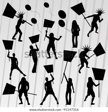 Protesters crowd silhouettes collection background illustration vector - stock vector