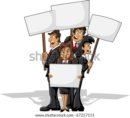 Protesters on rally. Business cartoon people. - stock vector