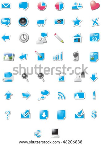 Proton web icons - blue candy edition - stock vector