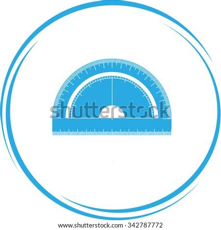 protractor. Internet button. Vector icon. - stock vector