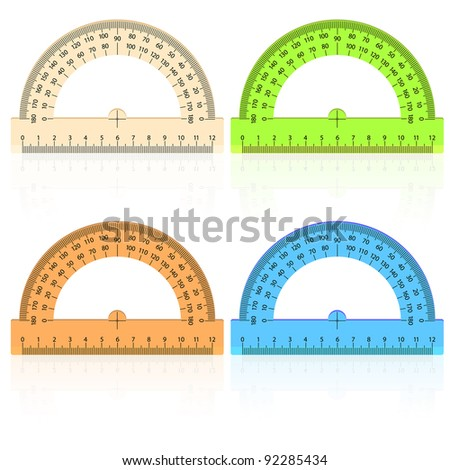 protractor ruler on a white background. - stock vector