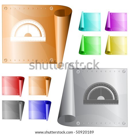 Protractor. Vector metal surface. - stock vector