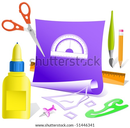Protractor. Vector paper template. - stock vector