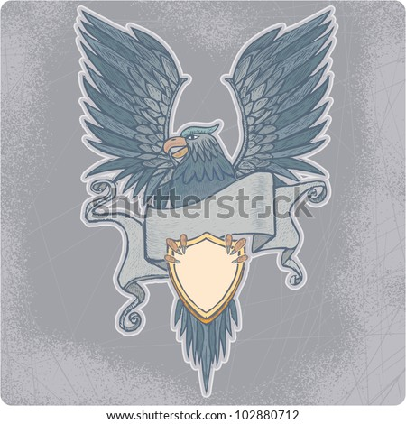 Proud high detailed eagle with banner and shield in engrave style. - stock vector