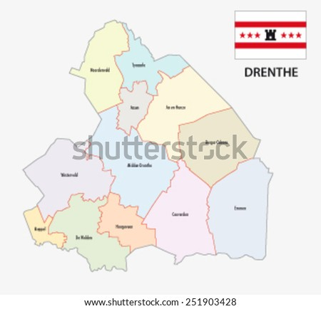 Province Drenthe Administrative Map Stock Vector 251903428