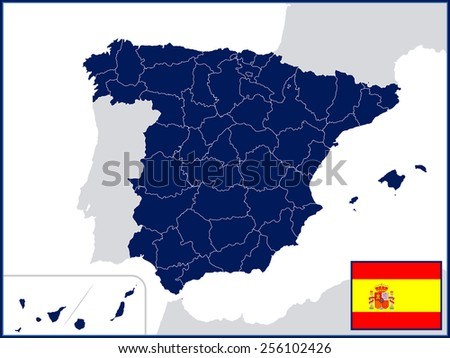Provinces of Spain with Flag and Badge - stock vector