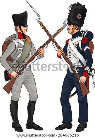 Prussian and French Soldiers from Napoleonic Wars Clashing Each Others Weapons, Illustration Isolated on White Background, EPS 10 Vector