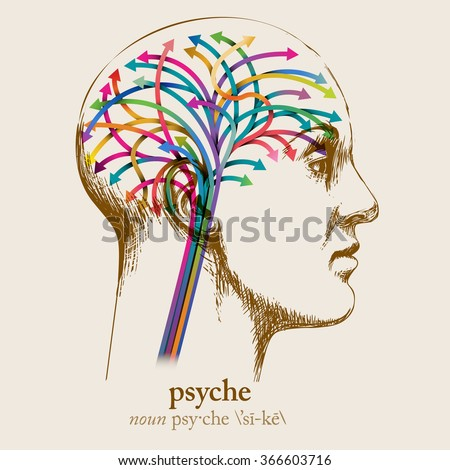 Psyche, sketched head and brain, eps10 vector - stock vector