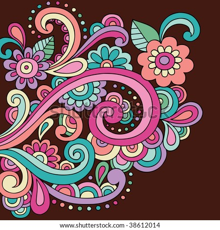 Psychedelic Abstract Paisley Doodle Vector Illustration - stock vector