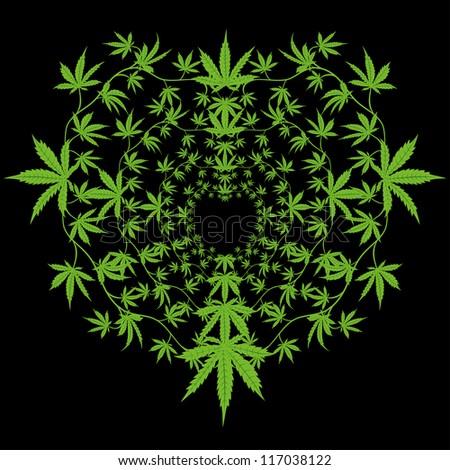 Grass Outline Vector Round Pattern Cannabis...