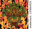 Psychedelic cannabis jungle spirit on fire background vector design - stock vector