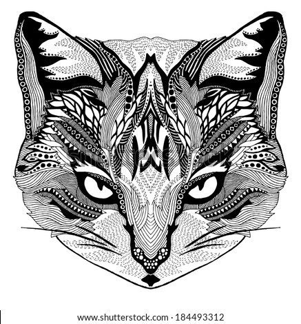 Psychedelic cat illustration - stock vector