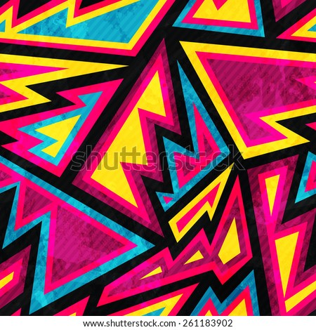 psychedelic colored geometric seamless pattern - stock vector