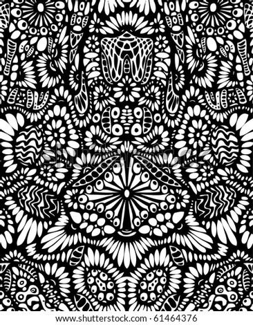 psychedelic crazy hand-drawn background - stock vector