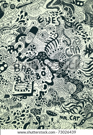 psychedelic doodles page - stock vector