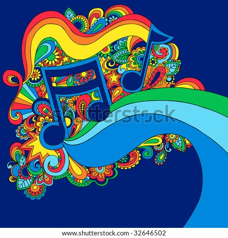 Psychedelic Groovy Vector Music Notes Illustration - stock vector