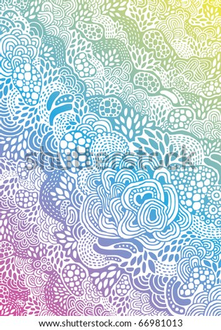 psychedelic hand-drawn background - stock vector