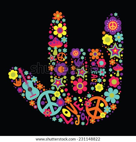 Psychedelic hand sign design - stock vector