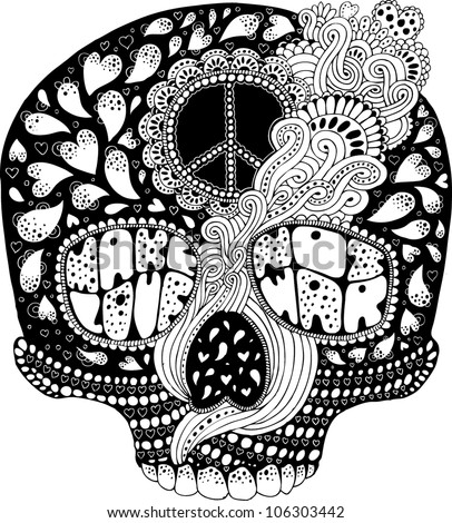 psychedelic hippie scull t shirt print