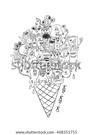 Psychedelic Illustration With Ice Cream Cone Full Of Sketch Funny Crazy Monsters Halloween Party Menu