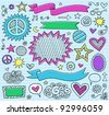Psychedelic Inky Marker Notebook Doodle Design Elements Set on Blue Lined Sketchbook Paper Background- Vector Illustration - stock