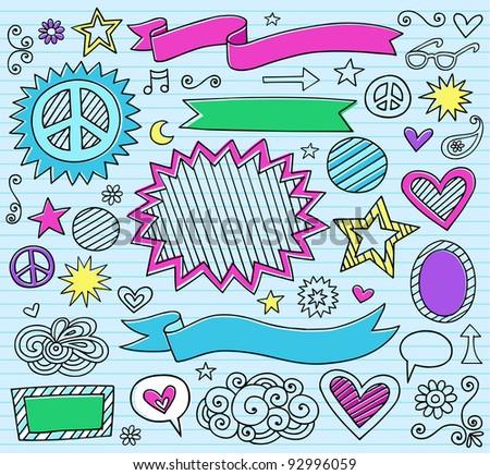 Psychedelic Inky Marker Notebook Doodle Design Elements Set on Blue Lined Sketchbook Paper Background- Vector Illustration - stock vector