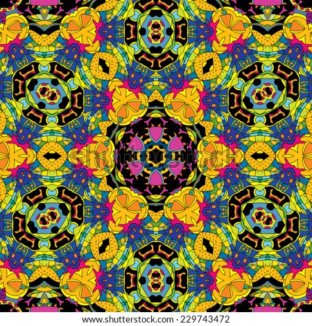 Psychedelic magic mushroom hallucination jungle seamless pattern vector illustration - stock vector