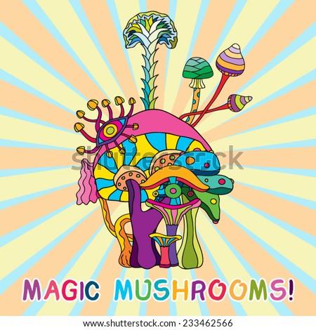 Psychedelic magic mushrooms hallucination Mexican set vector illustration - stock vector