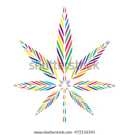 Psychedelic Marijuana Leaf Symbol Rainbow Colors Stockvector