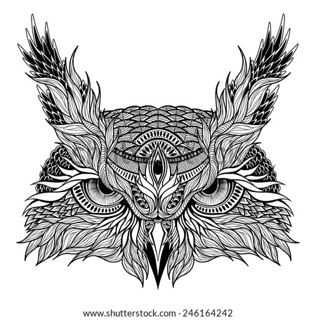 psychedelic owl head tattoo - stock vector