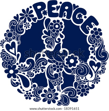Psychedelic Peace Sign Silhouette Vector Illustration - stock vector