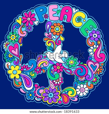 Psychedelic Peace Sign Vector Illustration - stock vector