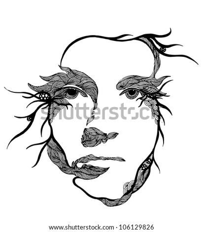 psychedelic portrait of young woman - stock vector