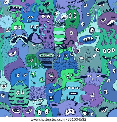 Psychedelic seamless pattern with sketch funny monsters. Abstract graphic background. - stock vector