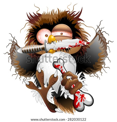 Psycho Owl Cartoon Killer - stock vector