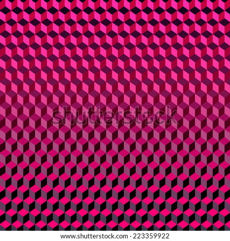 Psychodelic Abstract 3D Dark Violet Lilac Background from Cubes - stock vector